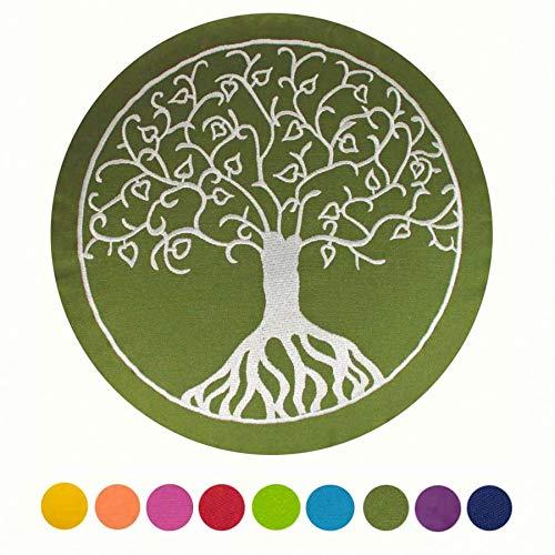 Cojín de meditación Maylow con bordado del árbol de la vida, 33x 15 cm, relleno de espelta, funda y relleno 100 % algodón, verde oliva