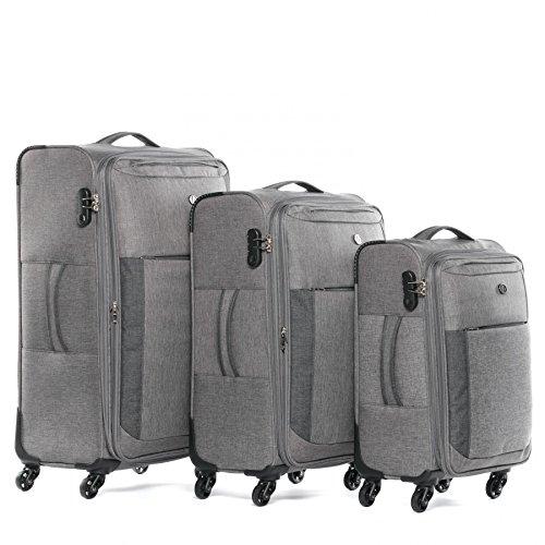 FERGÉ Kofferset Weichschale 3-teilig erweiterbar Saint-Tropez Trolley-Set mit Handgepäck 55 cm 3er Set Stoffkoffer Roll-Koffer 4 Rollen grau