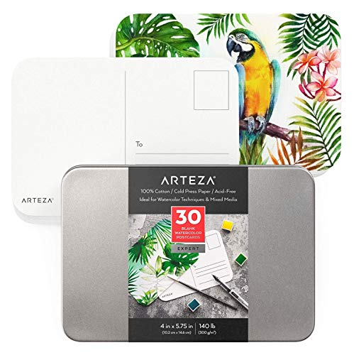 Arteza Blank Watercolor Postcards, 4x5.75 Inches, Set of 30 Cards, Heavyweight, 140 lb, 100% Cotton Watercolor Cardstock Paper for Thank You Notes, Invitations & Greeting Cards
