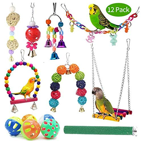 Direct 12Pcs Parrot Toys, Swing Hanging Toy Hammock Bell Swing Ladder Perch Chewing Toys Parrot Hammock Bell Toys Hanging Bell Birds Cage Toys for Small Parakeets, Cockatiel, Conures,Finches,Budgie