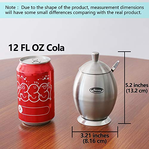 270 Milliliter 9.0 Ounces Drum Shape Newness Stainless Steel Sugar Bowl with Lid and Sugar Spoon for Home