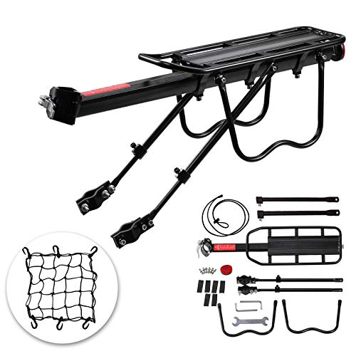 Voilamart Rear Bike Rack Bicycle Cargo Rack Quick Release Universal Adjustable Alloy Bicycle Carrier 115 lbs Capacity Easy to Install