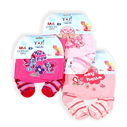 Babystrumpfhose mit ABS RA-05 mit Noppen für Mädchen 3 er Set Schmetterling Gr. 92-98