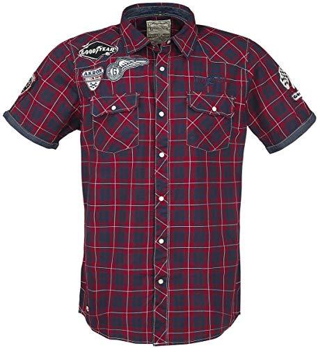 Goodyear Fashion Herren Oklahoma Hemd, Red/White/Dark Blue, XL