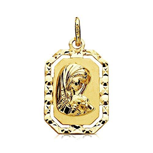 Medalla Oro 9K Virgen Niña 20mm. Octogonal Filo Tallado Centro Liso