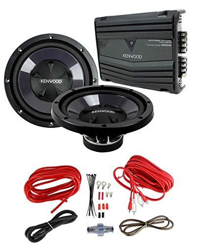 2) New Kenwood KFC-W112S 12' 1600W Car Subwoofers + KAC-5206 400W Amp + Amp Kit