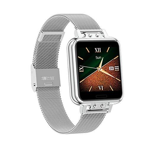 Aliwisdom Smartwatch für Damen Kinder, 1,22 Zoll Fashion Smartwatch Fitness Uhr Wasserdicht Sport Armbanduhr Fitness Tracker Metallarmband für iOS Android, Mit Whatsapp SMS-Lesefunktion (Silber)