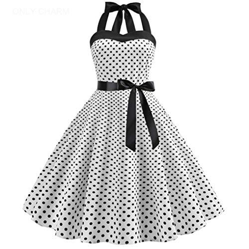 ONLY CHARM Damen Neckholder Kleider, Elegant Vintage Retro Cocktailkleid 1950er Rockabilly Petticoat Faltenrock Festliche Kleider, Weiß,M