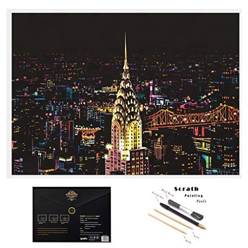 2er Kratzbilder 405 x 285 MM Weltberühmte Sehenswürdigkeiten Wandbild DIY Kunst Zeichnung, Stadt Nachtszene, Scratch Painting für Kinder & Erwachsene mit Werkzeug Set, Geschenk (New York)