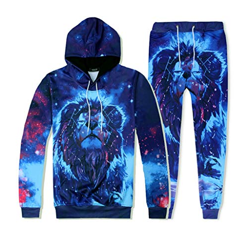 VEZAD Store Men's 2pc Tracksuit Outfit Casual 3D Galaxy Print Hoodie Sweatshirt Pants Set