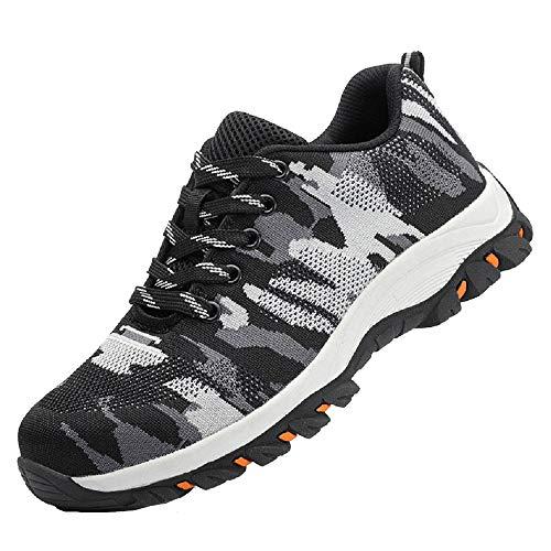 DoGeek Zapato Seguridad Camo Calzado Seguridad Hombre con Punta de Acero, Antideslizante Transpirables, Unisex, Negro, 36 ✅