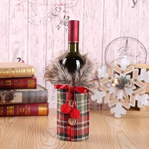 NLRHH Weihnachtsschmuck Wein Set Bogenflasche Set Hotelrestaurant auf Requisiten (rot Plaid) DIY (Farbe: rot Plaid) Peng (Color : Red Plaid)