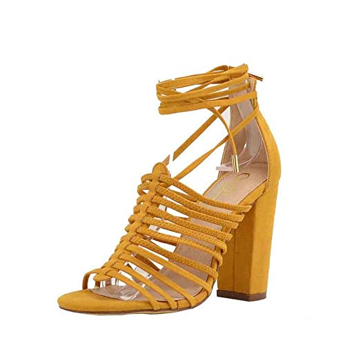 Olivia and James Womens Open Toe Strappy Lace Up Cage Gladiator Block Heel Chunky Sandal Shoes