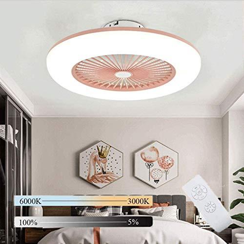 Ventiladores para el techo con lámpara, Lámpara de Techo Regulable para Dormitorio, Plafon de Techo Invisible Ultra Silencioso con control remoto, Lámpara de diseño Redondo para Sala de Estar,Rosado