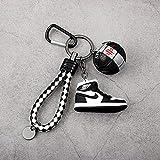 kxt Molde de Zapato Llavero 3D Creativo NBA Baloncesto Llavero Mini Zapatos de Baloncesto Mochila Colgante Regalo Personalizado Masculino (Color : Black and White)