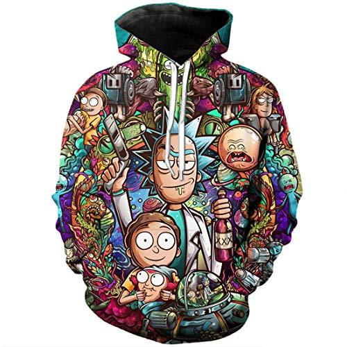 Rick And Morty By Jml2 Art 3D - Sudadera unisex con capucha para hombre, ropa de invierno para nios, talla XXXL, color: Rick-D)
