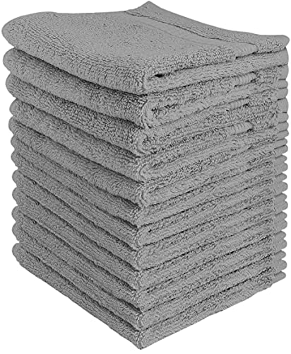Utopia Towels Premium Fingertip Towel Set (12 x 12 Inches, Grey) 600 GSM 100% Cotton Washcloths & Face Cloth, Highly Absorbent and Soft Feel (12-Pack)
