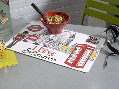 CALITEX I Love London, PVC, Blanc, 44x28 cm