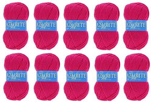 les colis noirs lcn Lot 10 Pelote de Laine Azurite 100% Acrylique Tricot Crochet Tricoter - Rose - 3019