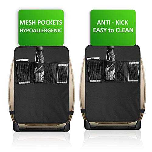 1st Must Have - Kick Mats -2 Pack - TOMAS MARSHAL Premium Quality Car Seat Protector Mat Best Waterproof Protection of Your Upholstery from Dirt, Mud, Scratches - Extra Large Car Seat Back Covers
