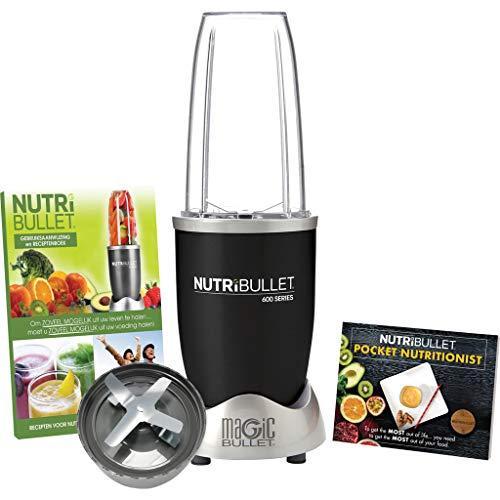 NutriBullet 600 watt series - Mixer - Nährstoff Extraktor, Gesundheits-Set, 20.000 UpM Smoothie Maker, Mixer - 5-teilig - Schwarz - inklusive ua Deutsche Bedienungsanleitung