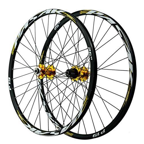 ZNND Ruedas de Bicicleta 26/27.5/29 Pulgadas, Llanta MTB de Doble Pared Aleación de Aluminio 32 Hoyos Freno de Disco Volante 12 Velocidades (Color : Yellow, Size : 29in)