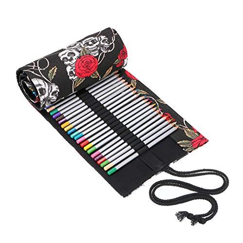 BTSKY Estuche Enrollable para Lápices con 72 Agujeros Cortina de Lápices de Tela de Gran Capacidad Organizador para Envolver Lápices de Colores, Color Negro Estampado de Rosa Calavera