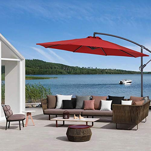 MISSBRELLA Paraguas para exteriores con manivela impermeable de 3 m, 8 varillas - -