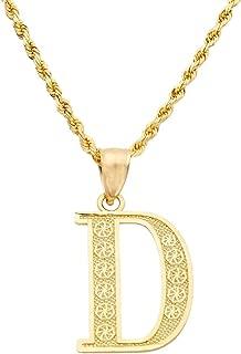 10K Yellow Gold Diamond Cut A to Z Alphabet Initial Letter Charm Pendant (Medium Size)