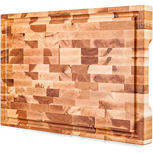 Mevell Premium End Grain Cutting Board Handmade in Canada Large Wood Cutting Board for Kitchen Big Butcher Block with Juice Groove Maple 18x12x15G