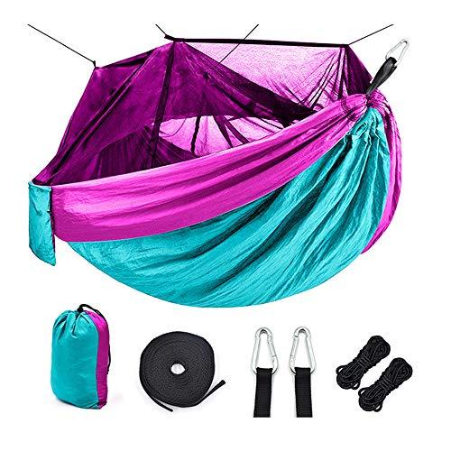 WHCL Hamaca de Camping portátil, Hamaca de Campamento único con Red, paracaídas de Nylon Hamaca con Correas de árbol para Acampar, mochilero, Viajes y Senderismo,Púrpura