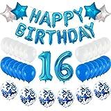Globo para decoración de cumpleaños número 16, globos de helio inflables + globos de Happy Birthday + 30 globos + 4 estrellas