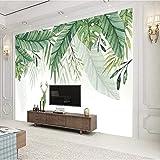 TV Hintergrundbild Nordic tropischen Pflanzen kleine frische Wand Tuch Wohnzimmer TV Hintergrundbild nahtlose minimalistische Wan fototapete 3d Tapete effekt Vlies wandbild Schlafzimmer-350cm×256cm