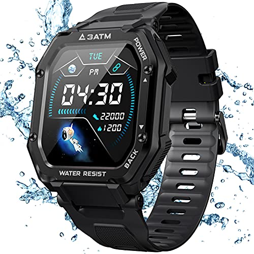 """KOSPET Smart Watch for Men, Fitness Tracker with Blood Pressure/Blood Oxygen Monitor Activity Tracker, 3ATM Rugged Waterproof 1.69"""" Fitness Watch with Heart Rate Sleep Monitor for iPhone Android-BLACK"""