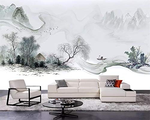 Murale,Carta da Parati,Stile Cinese Paesaggio di Inchiostro Stile Paesaggio Custom 3D Wallpaper Stampa di Arte Pittura Murale Poster Immagine Fotografia HD Stampa Grande Murale di Seta per La Camera
