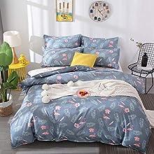 Loussiesd Juego de ropa de cama para niños, diseño de flamencos, color rosa y blanco, funda nórdica con 1 funda de almohada de 2 piezas de 135 x 200 cm + 80 x 80 cm, para niños y niñas