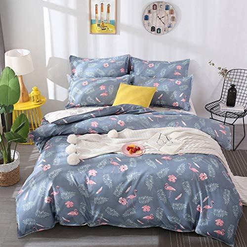 Loussiesd Juego de ropa de cama para niños, diseño de flamencos, color rosa y blanco, funda...