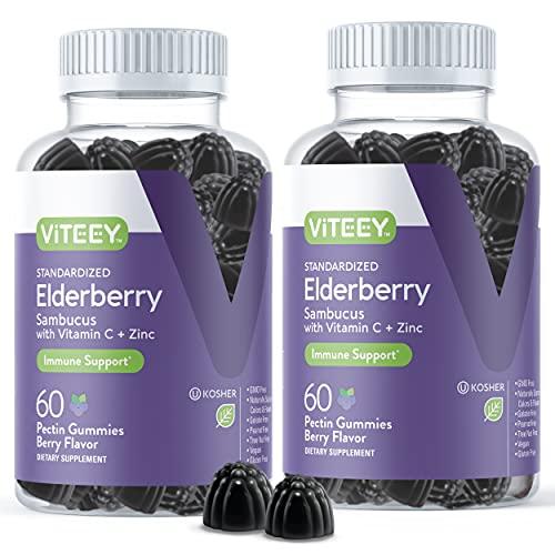 Sambucus Black Elderberry Gummies [3 in 1 Immune Booster] Plus Zinc & Vitamin C - Herbal Dietary Supplements, Plant Based Pectin - Good for Adults Teens & Kids - Berry Flavored Gummy [60 Count-2 Pack]