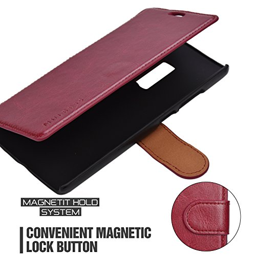 OnePlus 2 Case Wallet - Mulbess [Layered Dandy][Wine Red] - [Slim][Wallet Case] - Premium Leather Flip Case With Credit Card Slot for OnePlus Two