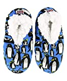 Lazy One Fuzzy Feet Slippers for Women, Out Cold, Penguin, Non-Skid