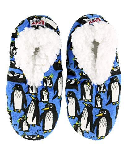 Lazy One Fuzzy Feet Slippers for Women, Cute Fleece-Lined House Slippers, Out Cold, Penguin, Non-Skid