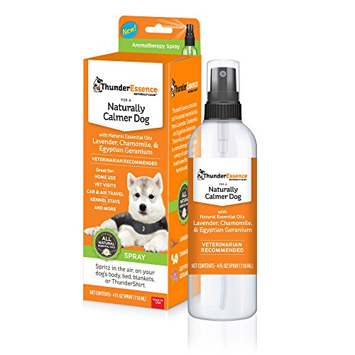 ThunderEase ThunderEssence Dog Calming Essential Oils | All-Natural Lavender, Chamomile and Egyptian Geranium | Vet Recommended |4 FL OZ. Spray