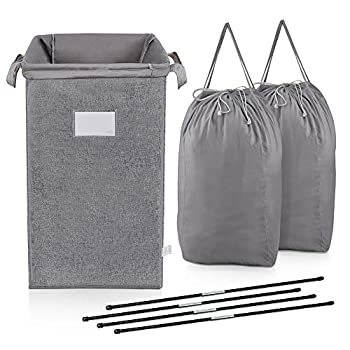 MCleanPin Large Laundry Hamper Collapsible with 2 Removeable Laundry Bags & Sorting Card Dirty Clothes Hamper Baby Nursery 2 Handles Foldable Hamper Dorm Room Storage Trunks for College,Grey