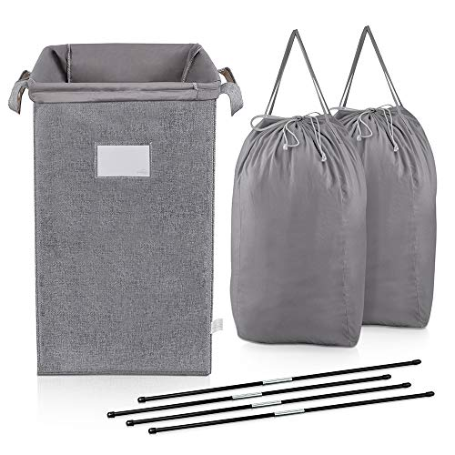 MCleanPin Large Laundry Hamper Collapsible with 2 Removeable Laundry Bags & Sorting Card, Dirty Clothes Hamper Baby Nursery, 2 Handles Foldable Hamper Dorm Room Storage Trunks for College,Grey