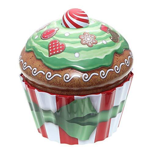 POWERHAUS24 Cup Cake Dose Merry Christmas, Keksdose, Muffindose, Aufbewahrung, Blechdose Vol. 1,5l inkl. PH24 Backrezept