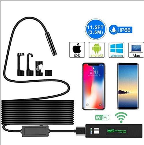 RJY 8 Mm WiFi Endoscopio, 1200P 2.0 MP HD Cámara De Inspección De Boroscopio Semi-Rígido IP68 Cámara De Serpiente A Prueba De Agua, para Android Y iOS iPhone Smartphone Tablet-11.5FT, 3.5M