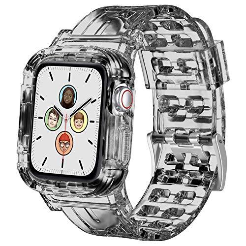 Senka Correa con funda Compatible con Apple Watch 38mm 40mm 42mm 44mm, Fundas con Correa Deportes de Silicona Suave Transparente para iWatch Series SE 6 5 4 3 2(42mm/44mm,Transparente Negro)