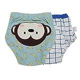LFLF (Little Monkey Pantalones de Aprendizaje Pañales de Tela con Parche de Dibujos Animados Pañal Lavable para Entrenamiento de Inodoro para bebés (2pcs / Set)