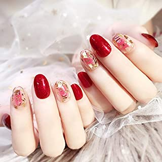 Skyvan 24 PCS Set Oval GEL Bling Glitter Pre-design Red Press On Nails Daily Wear Fake Nail Tips with Glue and Adhesive Tab DIY Manicure