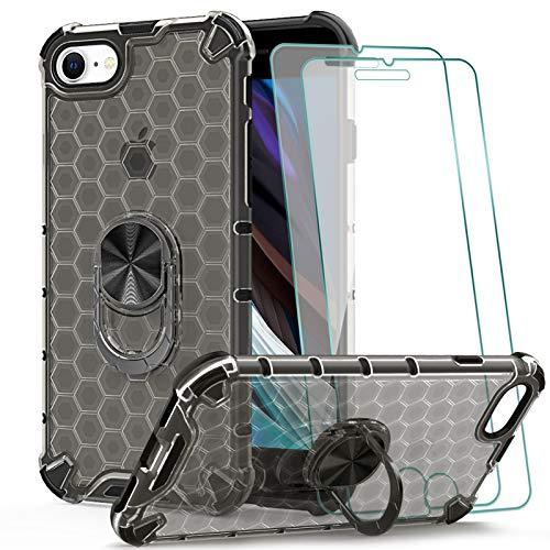 KEEPXYZ Funda iPhone 7 8 SE 2020 + 2 Pcs Protector de Pantalla Cristal Vidrio Templado, Antigolpes Patrón de Panal PC Transparente/Silicona TPU Carcasa /360 Grados iman Soporte para iPhone SE 2020